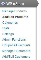 navigate to wp estore add/edit product menu