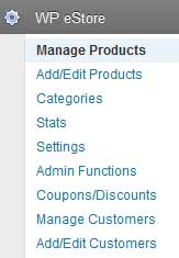 wp estore navigate to manage products