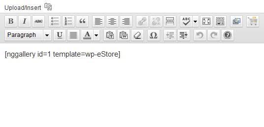 nextgen gallery shortcode  for estore add to cart button