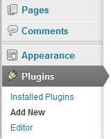 wordpress plugins menu screeenshot