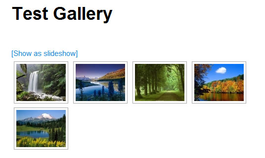 nextgen gallery display on a wordpress post or page