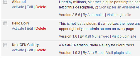 activate nextgen gallery plugin from wordpress plugins menu