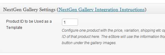 a screenshot showing the nextgen gallery integration interface of wp eStore