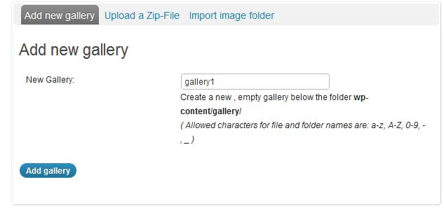 a screenshot showing how to add a new gallery in nextgen gallery