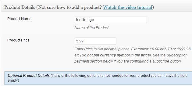 a screenshot showing the name and price of the product in WP eStore