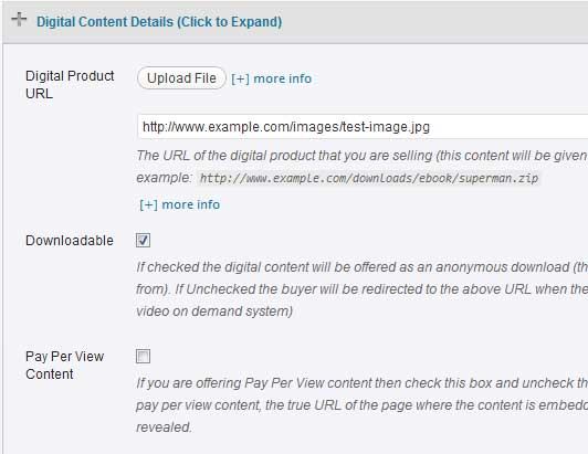 a screenshot showing the digital product details section of wp eStore plugin