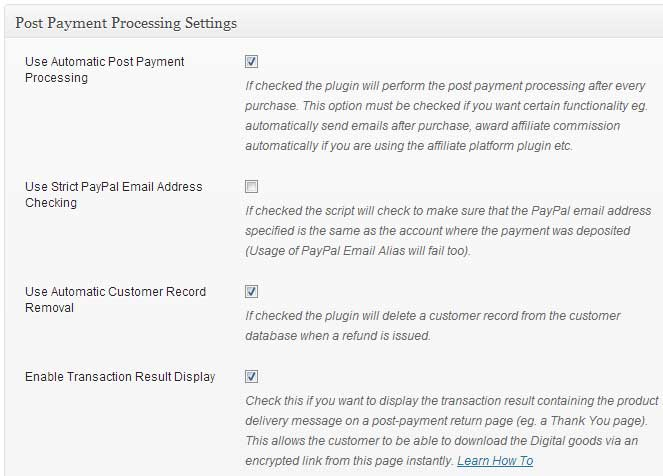 estore post payment processing settings