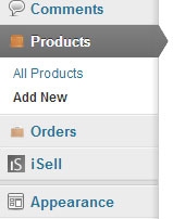 a screenshot showing how to access the products menu of wordpress isell plugin