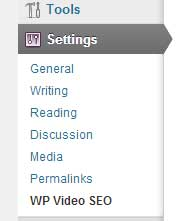screenshot showing the options page menu of wordpress video seo plugin
