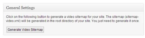 screenshot showing the wordpress video seo plugin settings page
