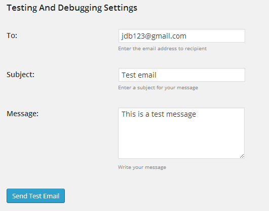 screenshot showing the testing and debugging settings of easy wordpress smtp plugin