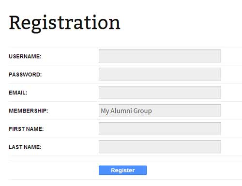 screenshot showing the alumni registration page