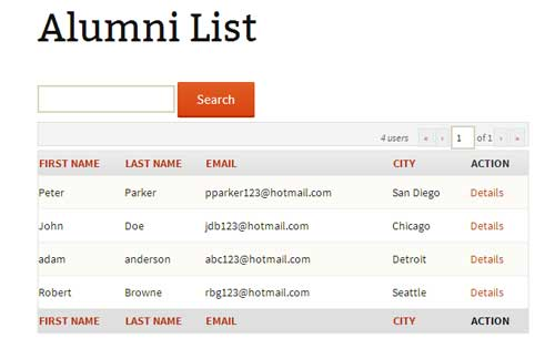 screenshot showing a list of your alumni on a wordpress page