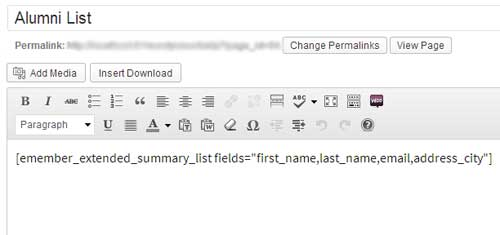 screenshot showing how to embed a shortcode to dispaly alumni list on wordpress