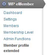 screenshot showing the emember profile extended addon settings