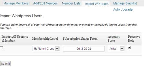 screenshot showing how to import wordpress users to alumni group in eMember plugin