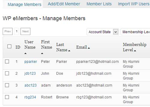 screenshot showing a list of alumni group in eMember plugin