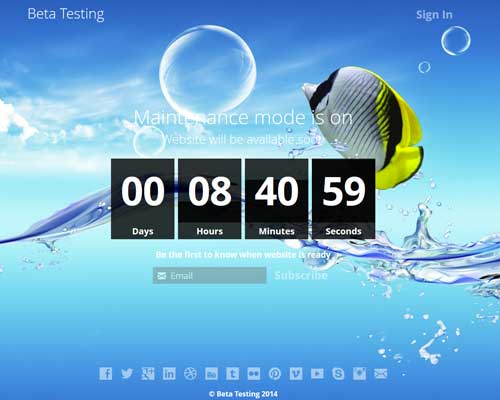 screenshot showing the coming soon background template 1
