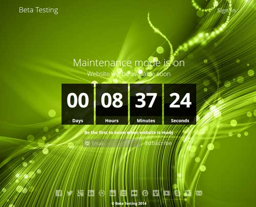 screenshot showing the coming soon background template 2