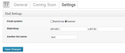 screenshot showing coming plugin email settings