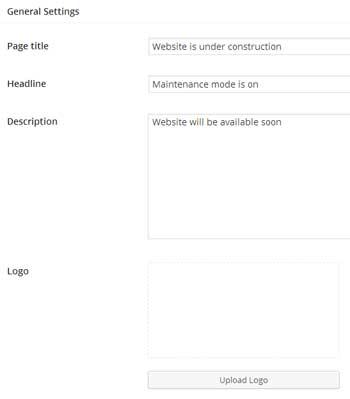 screenshot showing the general settings menu of coming soon plugin