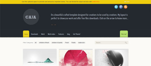 screenshot showing the PT Caja theme