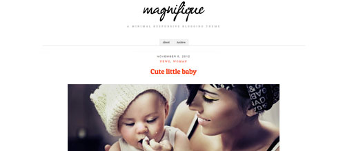 screenshot showing the PT Magnifque theme
