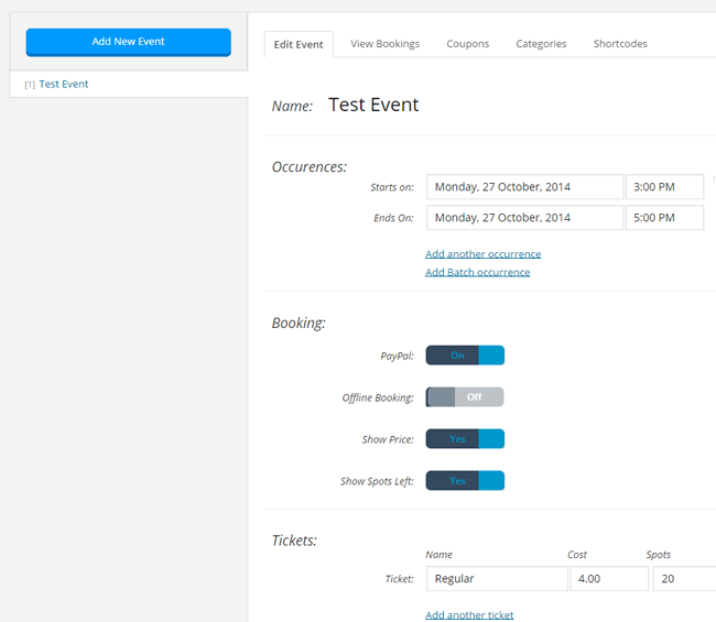 screenshot showing how to create a new event in the event booking manager plugin
