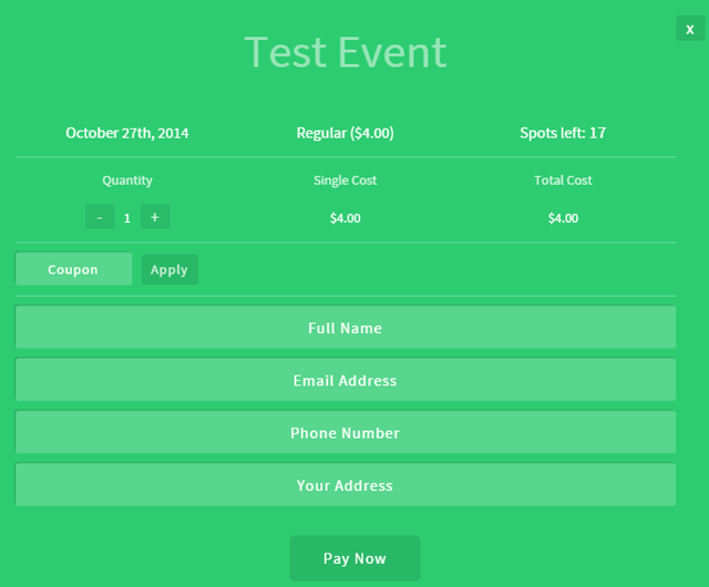 screenshot showing event booking process