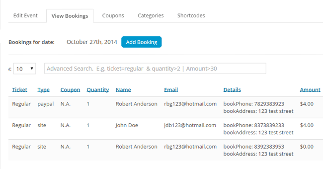 screenshot showing a list of  bookings in the event booking manager plugin