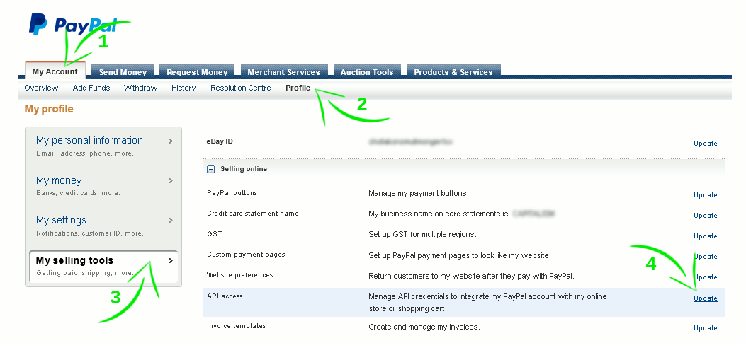 screenshot showing how to configure your paypal account
