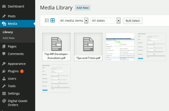screenshot showing how to upload a pdf e-book using WordPress media uploader