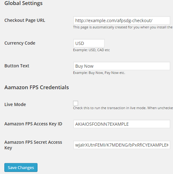 screenshot of amazon fps plugin settings