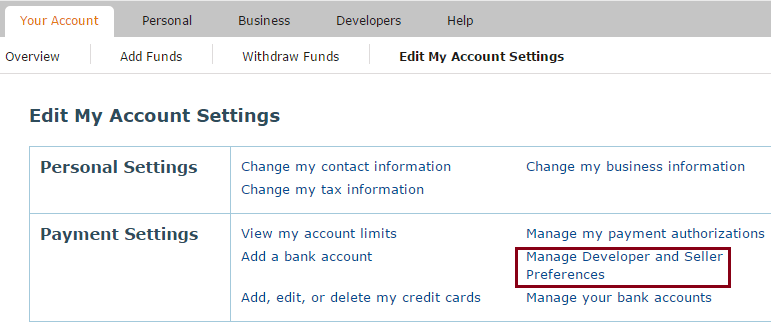 screenshot of amazon payments account preferences