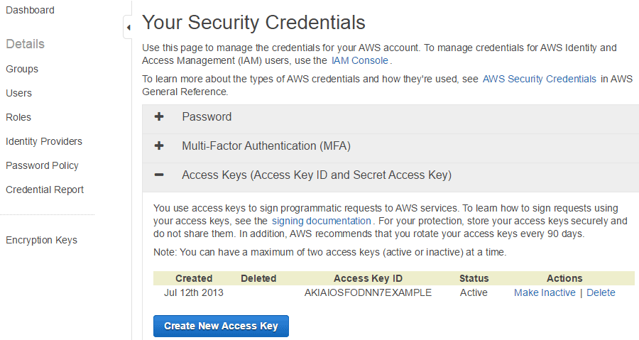 screenshot showing how to create an access key for amazon web services account