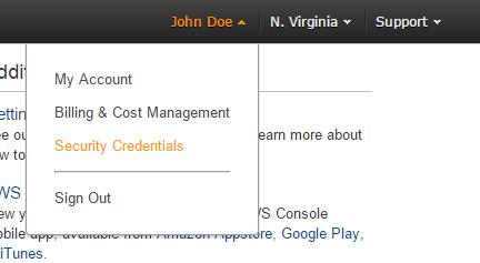 amazon web service security credentials tab