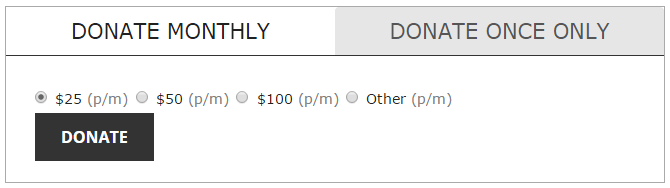 screenshot showing the monthly recurring donation option