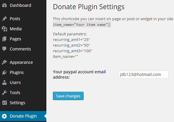 screenshot showing the WordPress recurring donation plugin settings