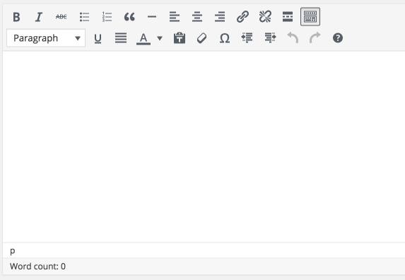 screenshot of the old TinyMCE buttons in the WordPress post editor
